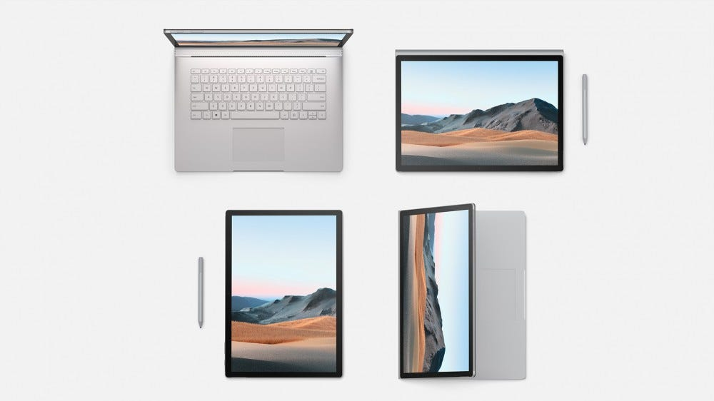 The Surface Book 3 in its tablet and laptop configurations.