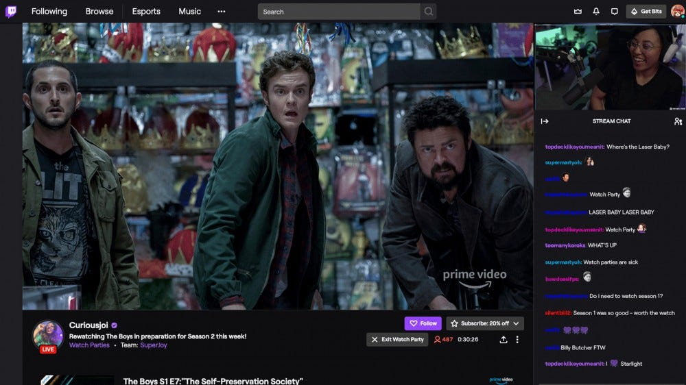 Twitch Stream party interface
