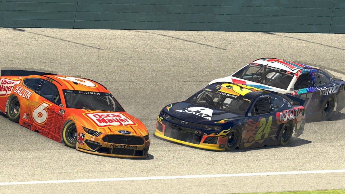 A screenshot of the NASCAR virtual race.