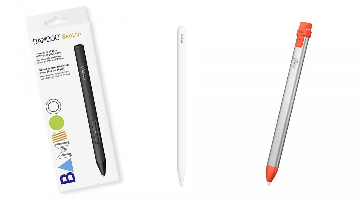 The Bamboo Sketch stylus, the Apple Pencil, and the Logitech Crayon
