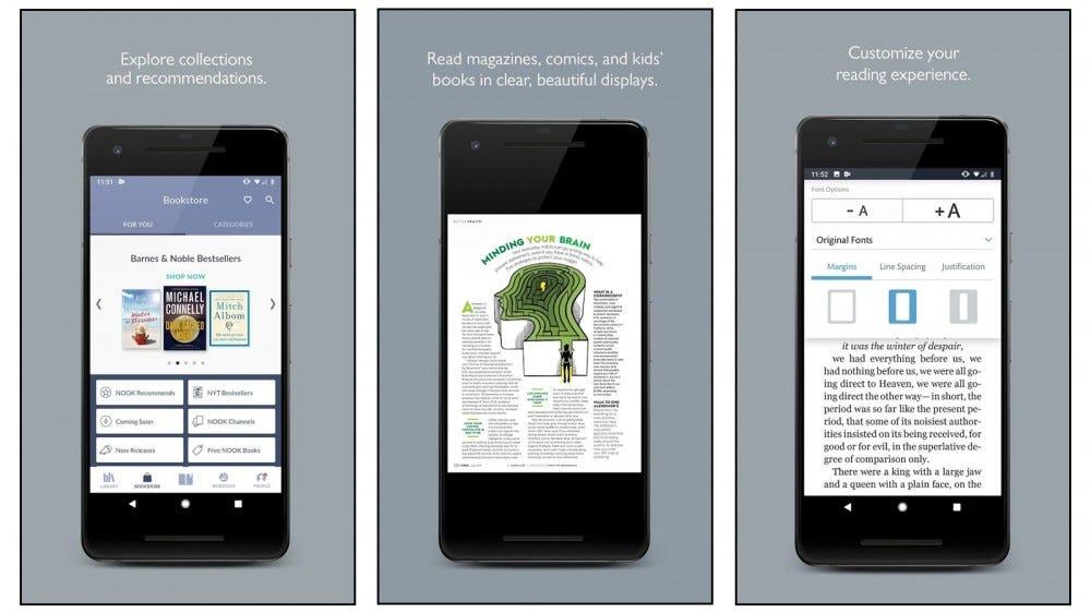 NOOK magazine app showing categories and article excerpt