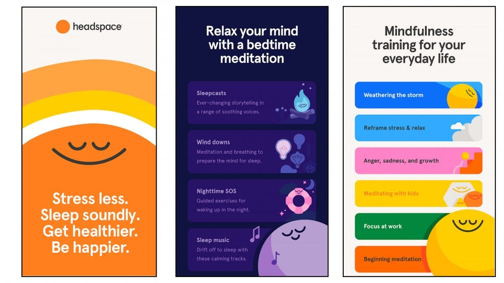 Headspace in-app Sleepcasts and meditation options