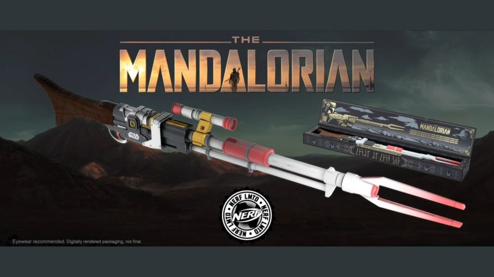 A banner for the Nerf 'Mandalorian' Amban rifle.