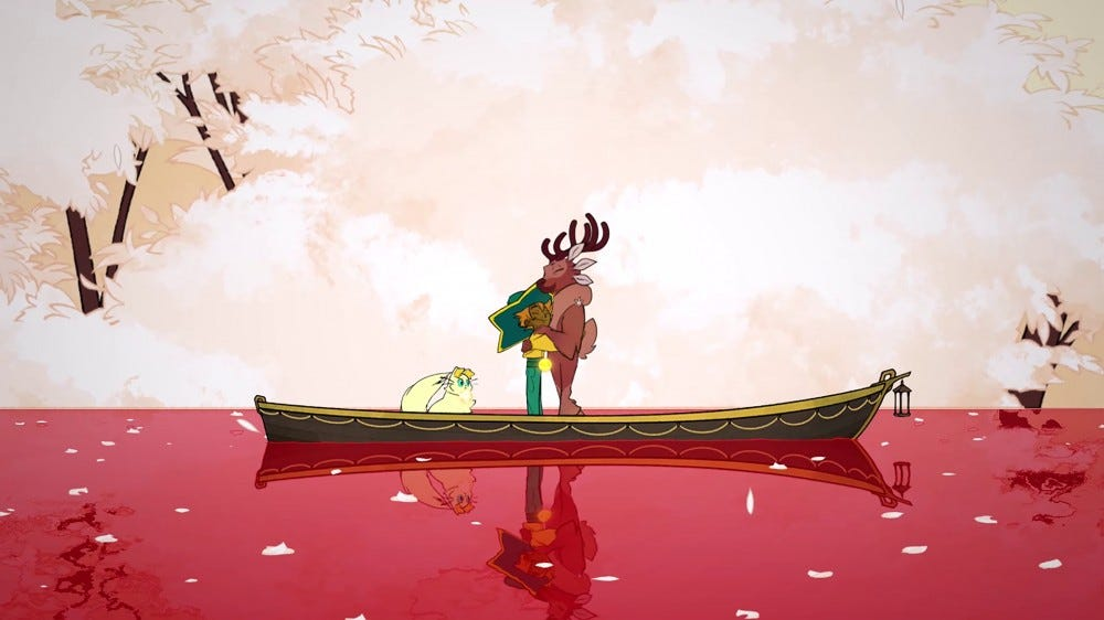 Two people on a boat over a red river, hugging warmly.