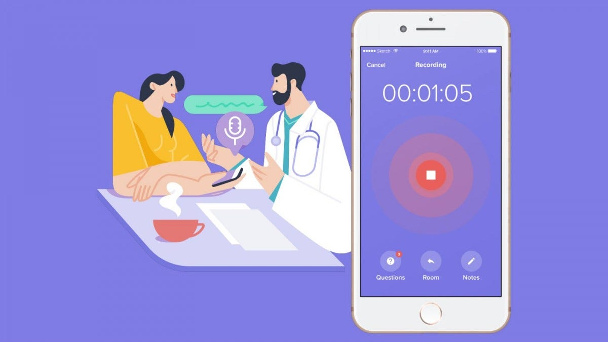 A woman and a doctor talking, while an app records the conversation.