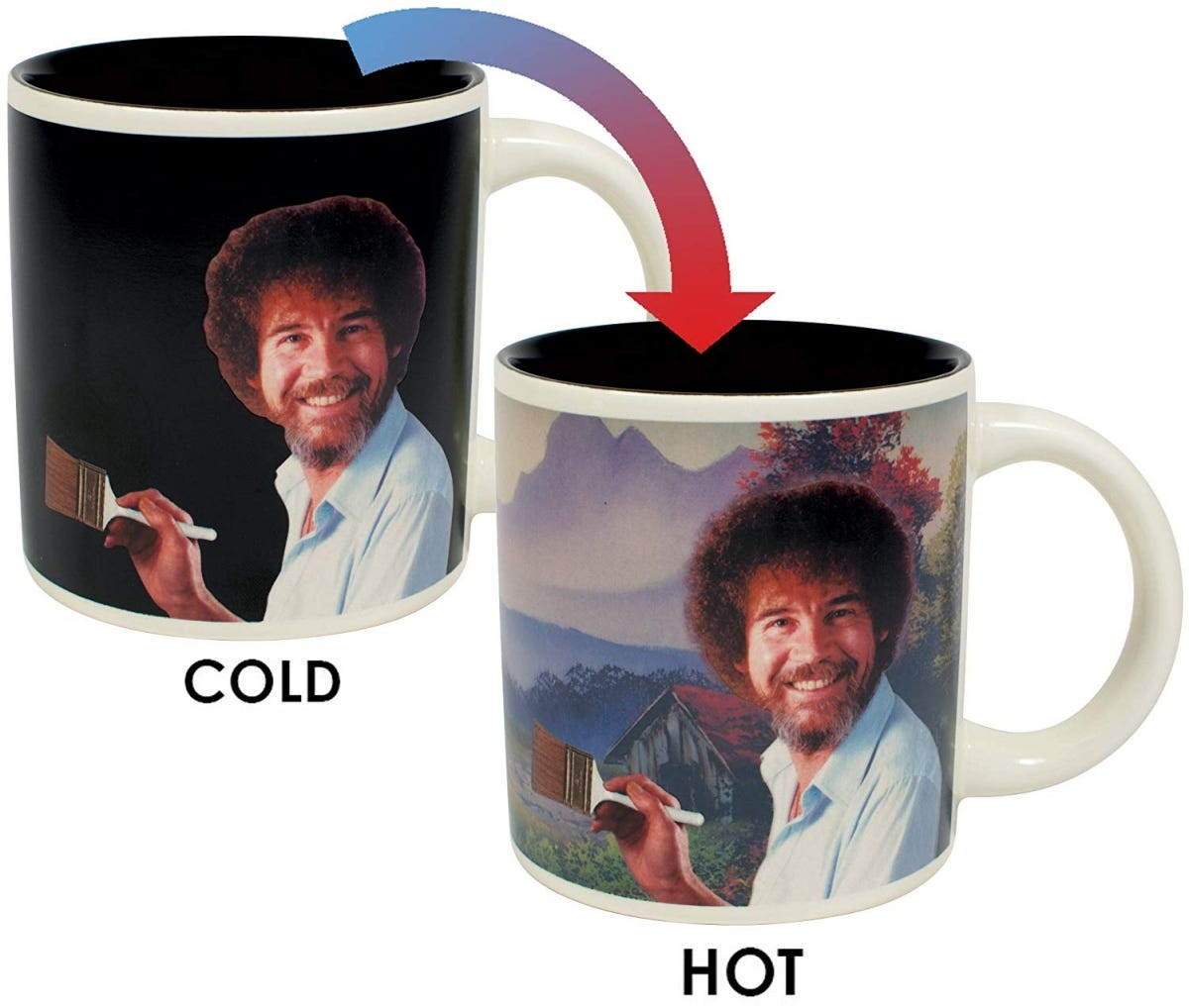 A color-changing mug featuring Bob Ross.