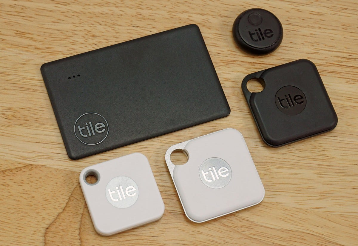 The Tile Mate, Tile Pro, Tile Slim, and Tile Sticker, all together.