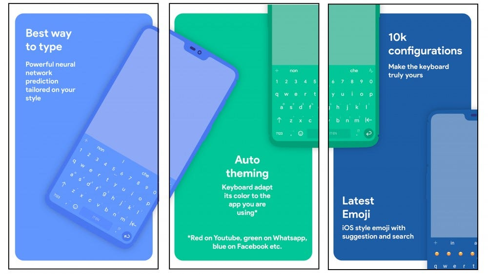Chrooma free Android keyboard app that changes the theme color to match the app you're using