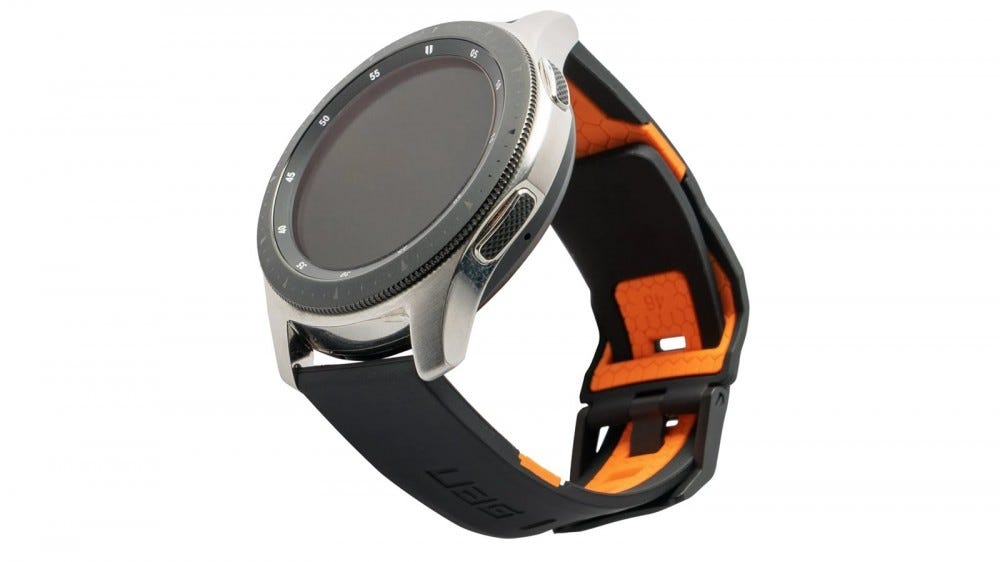 A universal Civilian band in black and orange on a Galaxy watch.