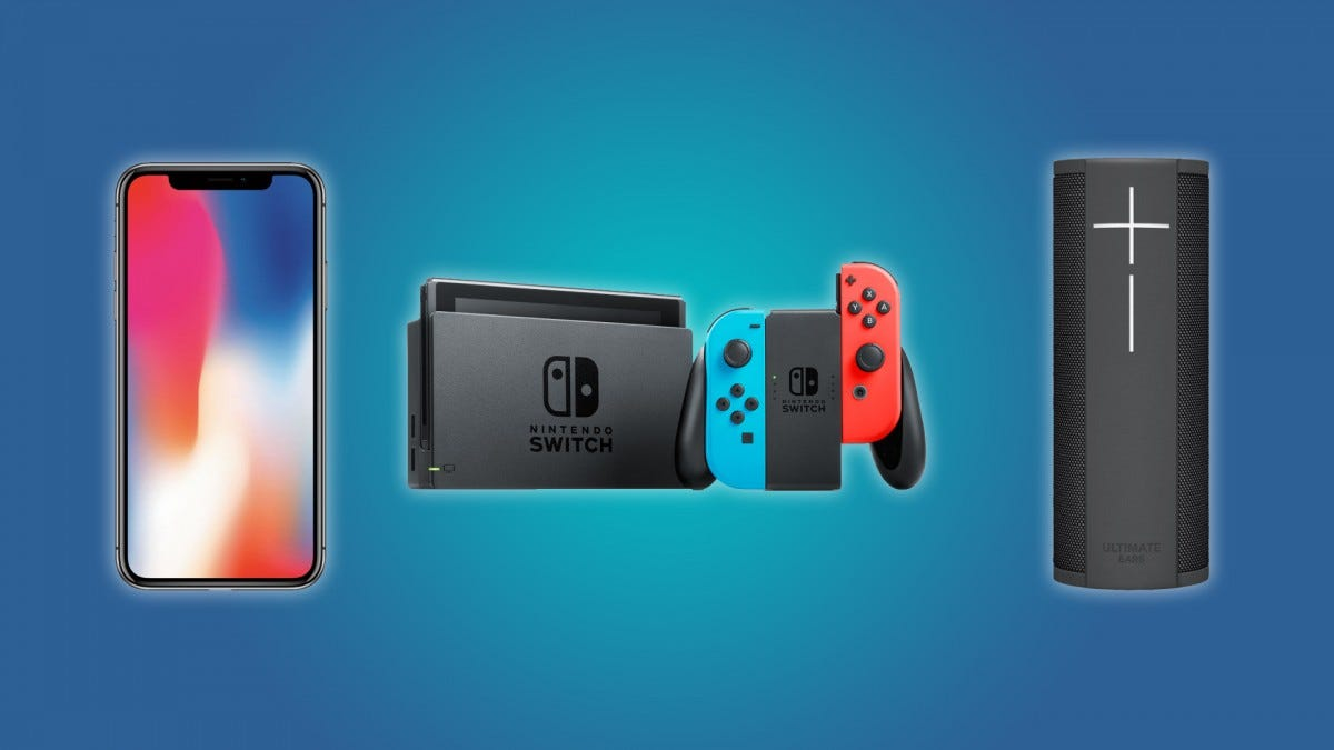 An iPhone X, a Nintendo Switch Console, and a Ultimate Ears BLAST Bluetooth Speaker