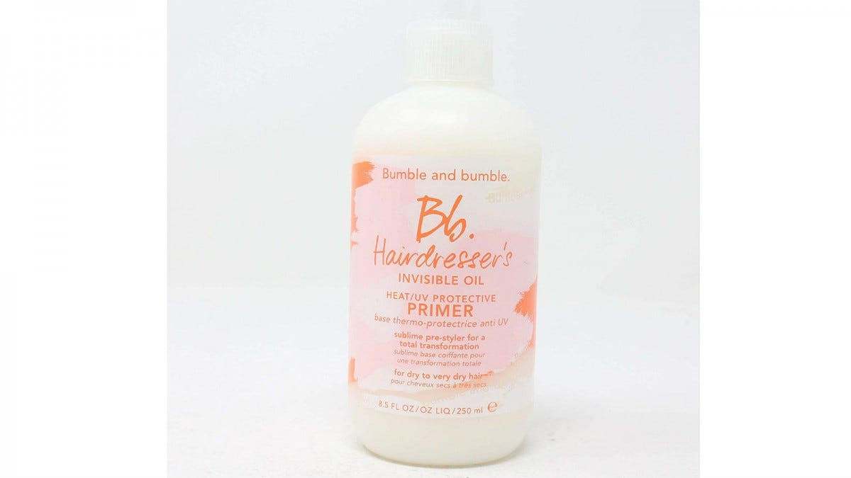 A bottle of Bumble and Bumble Hairdresser's Invisible Oil Heat/UV Protective Primer.
