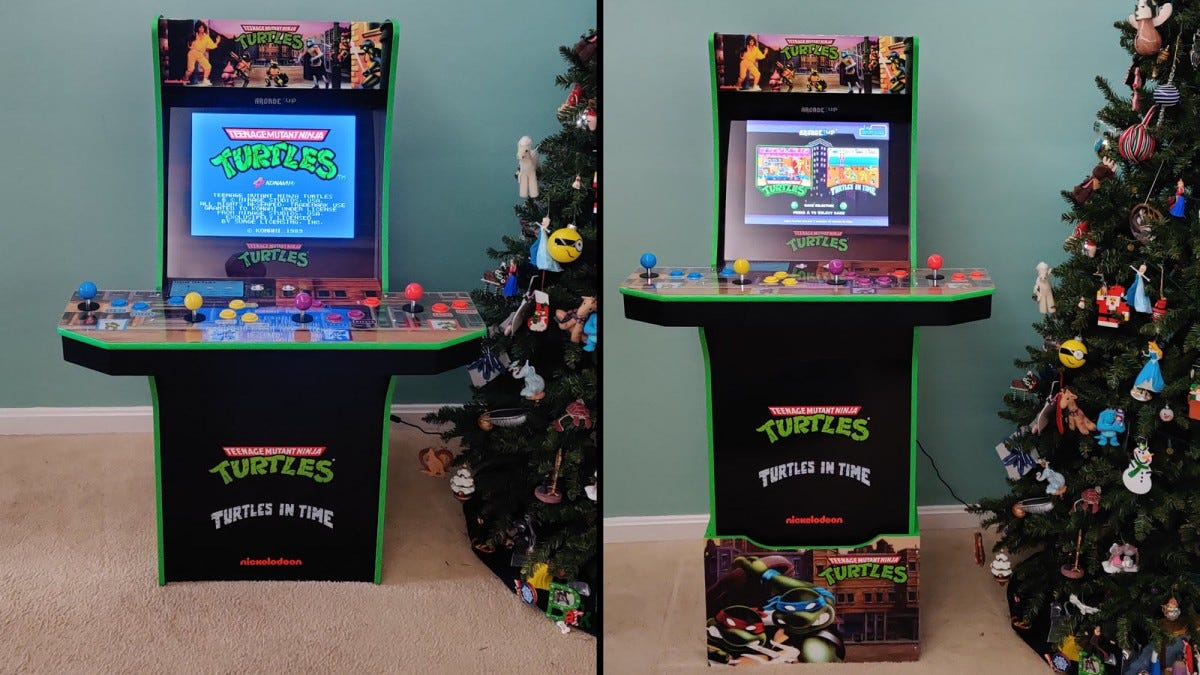 "Side-by-side of the ""TMNT"" arcade without the riser on the left and on the riser on the right."