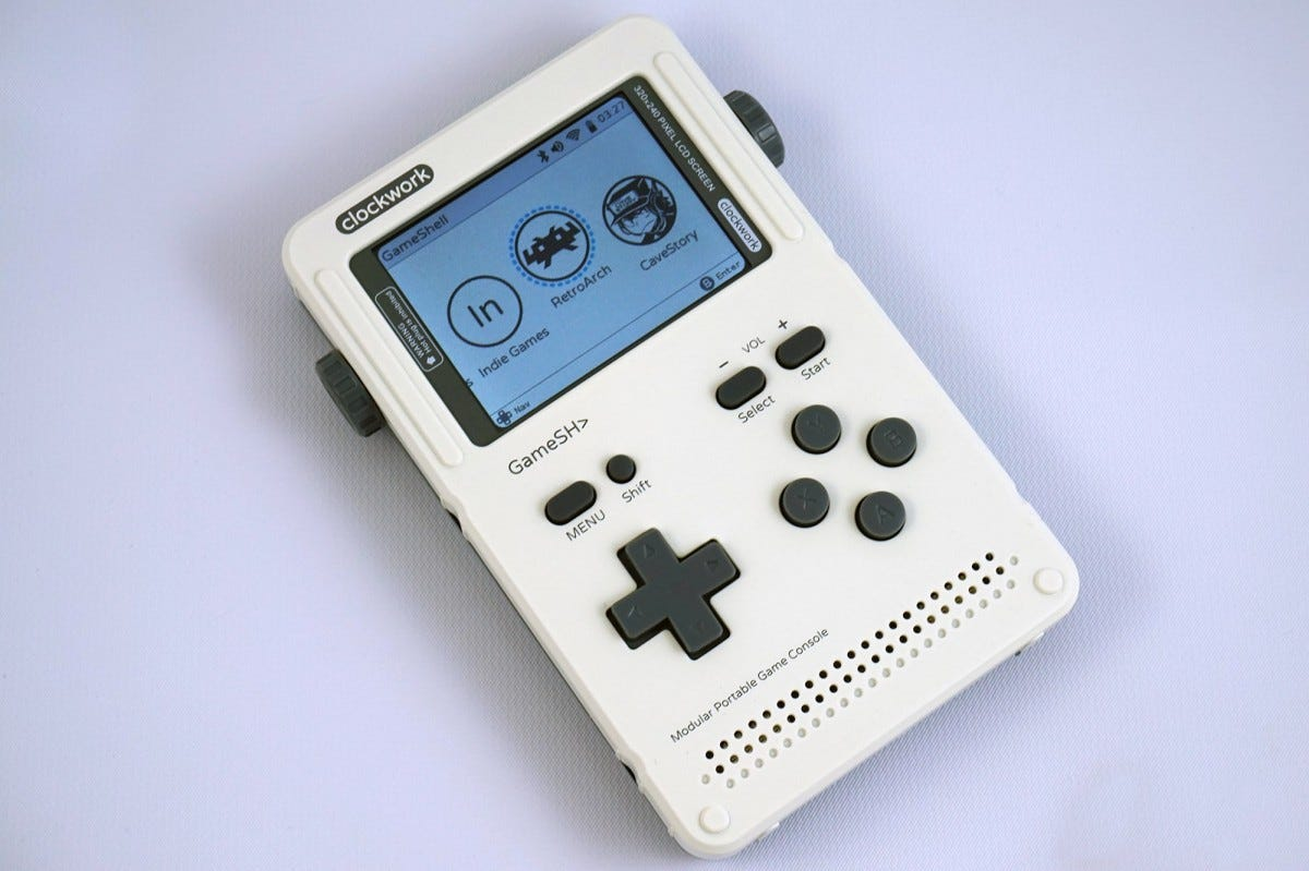 The GameShell, fully assembled, looks like a more advanced version of the original Game Boy.