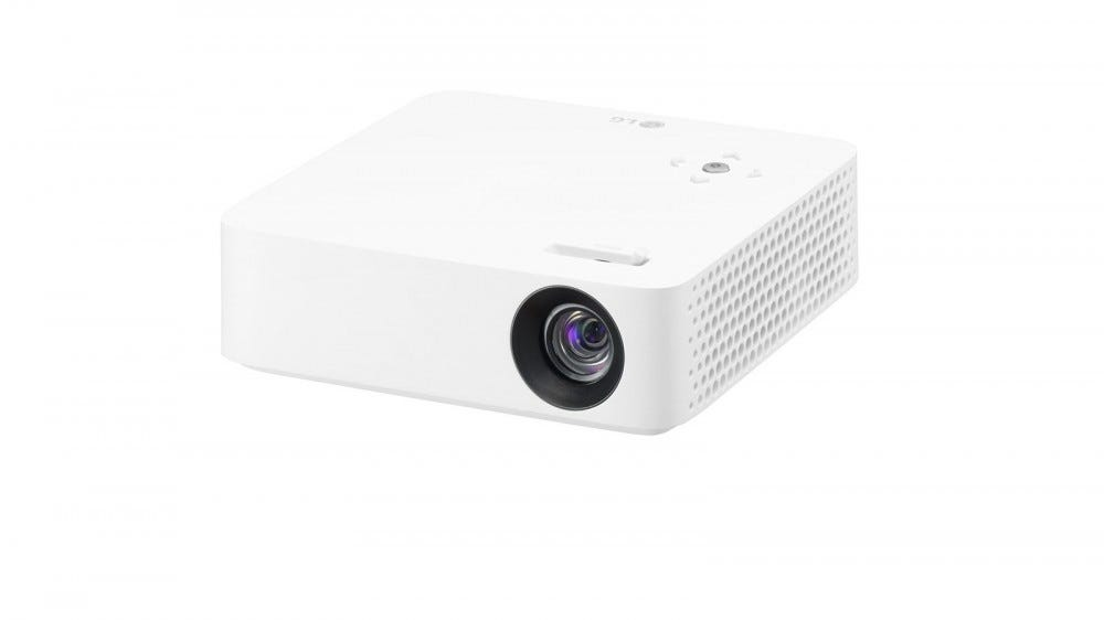 A White LG PH30N projector.
