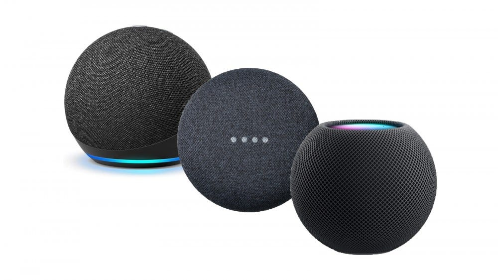 Apple HomePod Mini, Google Nest Mini, and Echo Dot in a line