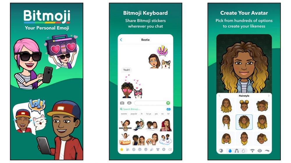 Bitmoji app for creating custom cartoon avatar stickers