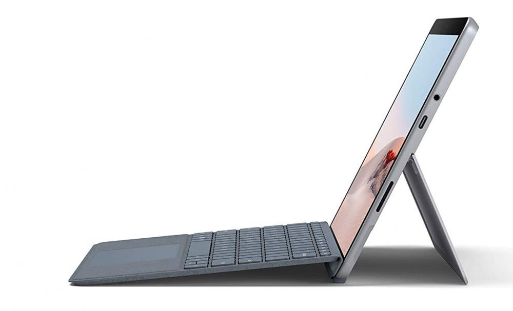 surface Go 2 and keyboard from the side