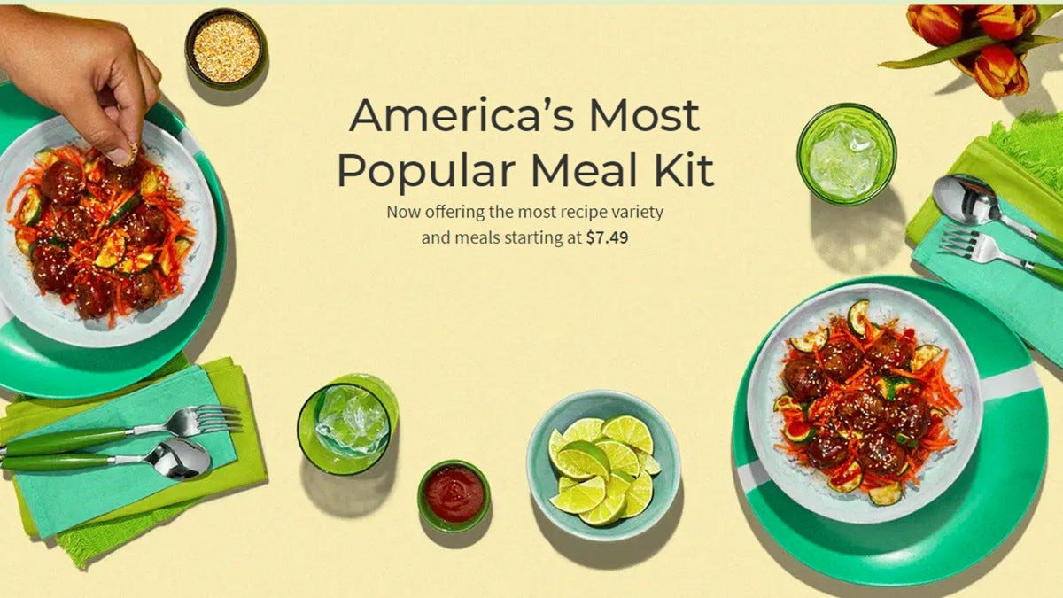 A screenshot of the Hellofresh website showing an assortment of meals, mostly pasta.