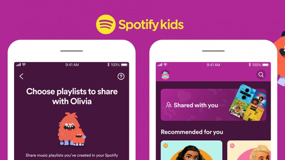 A Spotify Kids app with a Choose Playlist option on the screen.