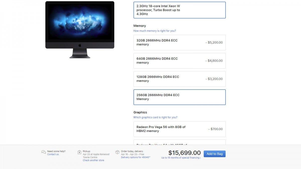 iMac Pro Shopping page