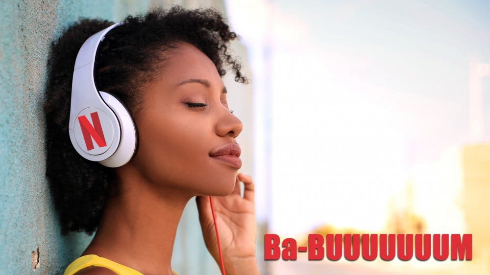 Woman listens to headphones with Netflix logo