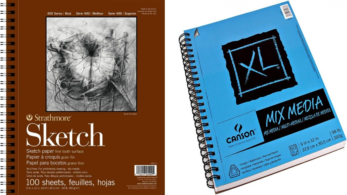 Canson XL Mixed Media Spiral Sketch Pad and Strathmore 400 Series Sketch Pad