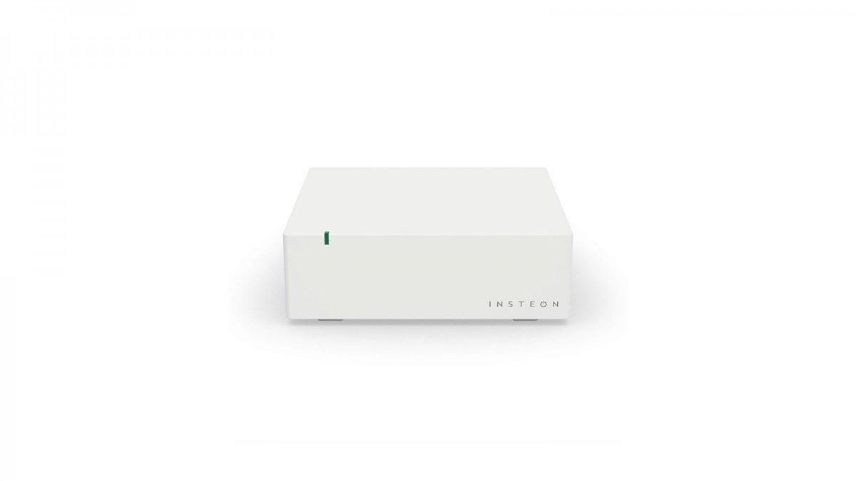 A white Insteon hub with a single LED indicator.