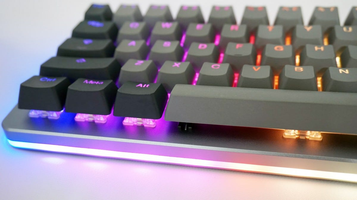 The ALT keyboard with lighting strip illuminated.