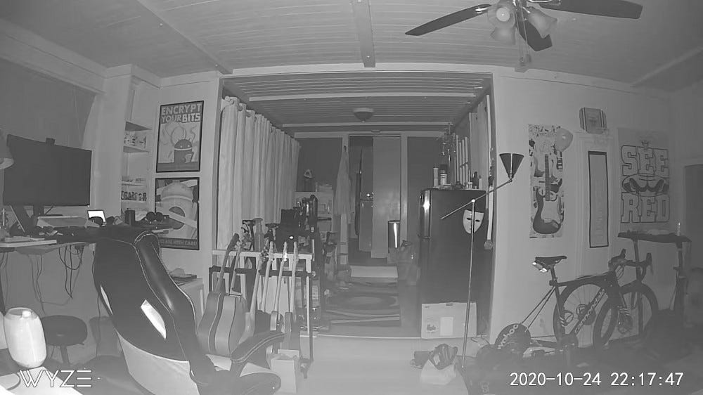 An example shot of the Wyze Cam v3's night mode indoors