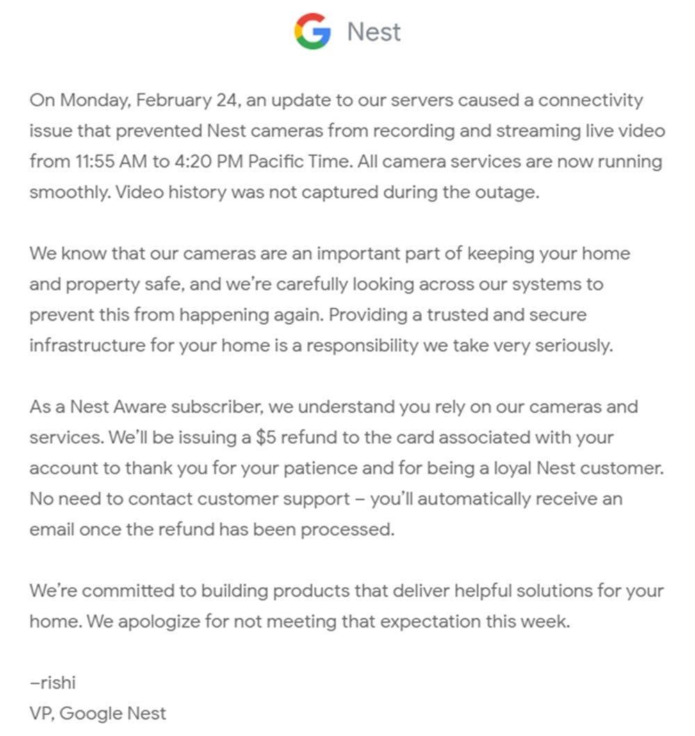 An email from Google apologizing for an outage and promising a $5 refund.
