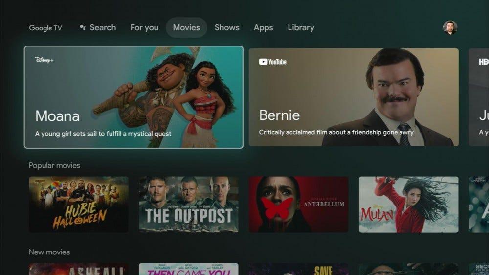 Chromecast movies page