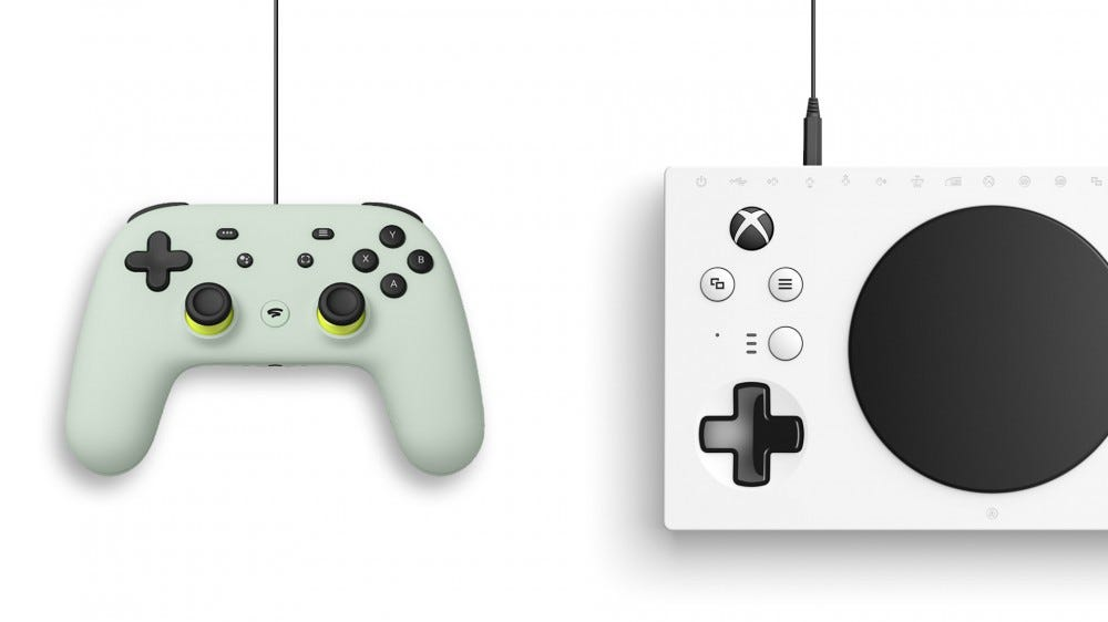 Stadia controller and xbox adaptive controller
