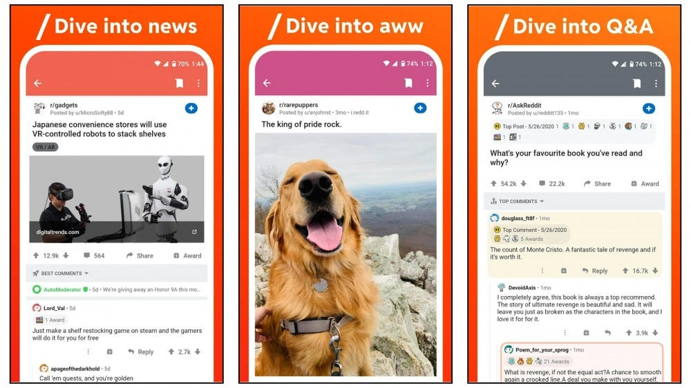 the official reddit app showing news, cute pictures, and other features