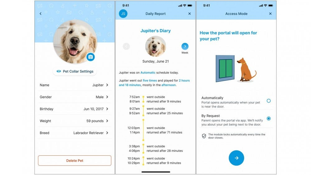 Three screens of the myQ app, showing dog profiles, entry options, and more.