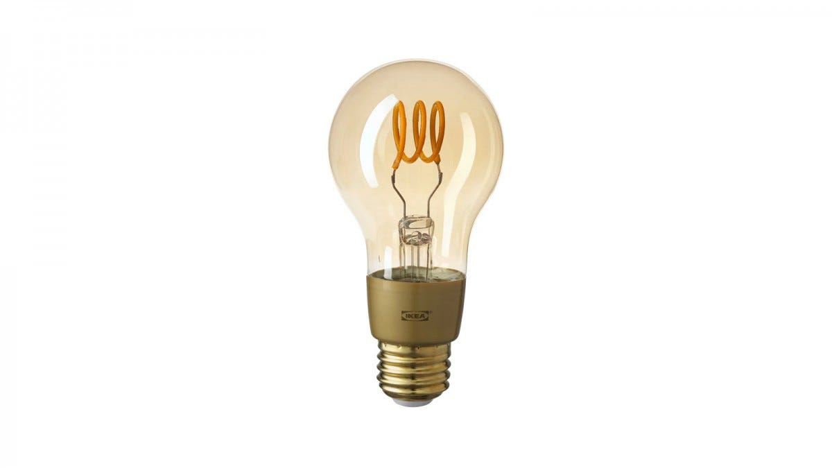 The IKEA TRÅDFRI LED Bulb, featuring brown glass and filament.