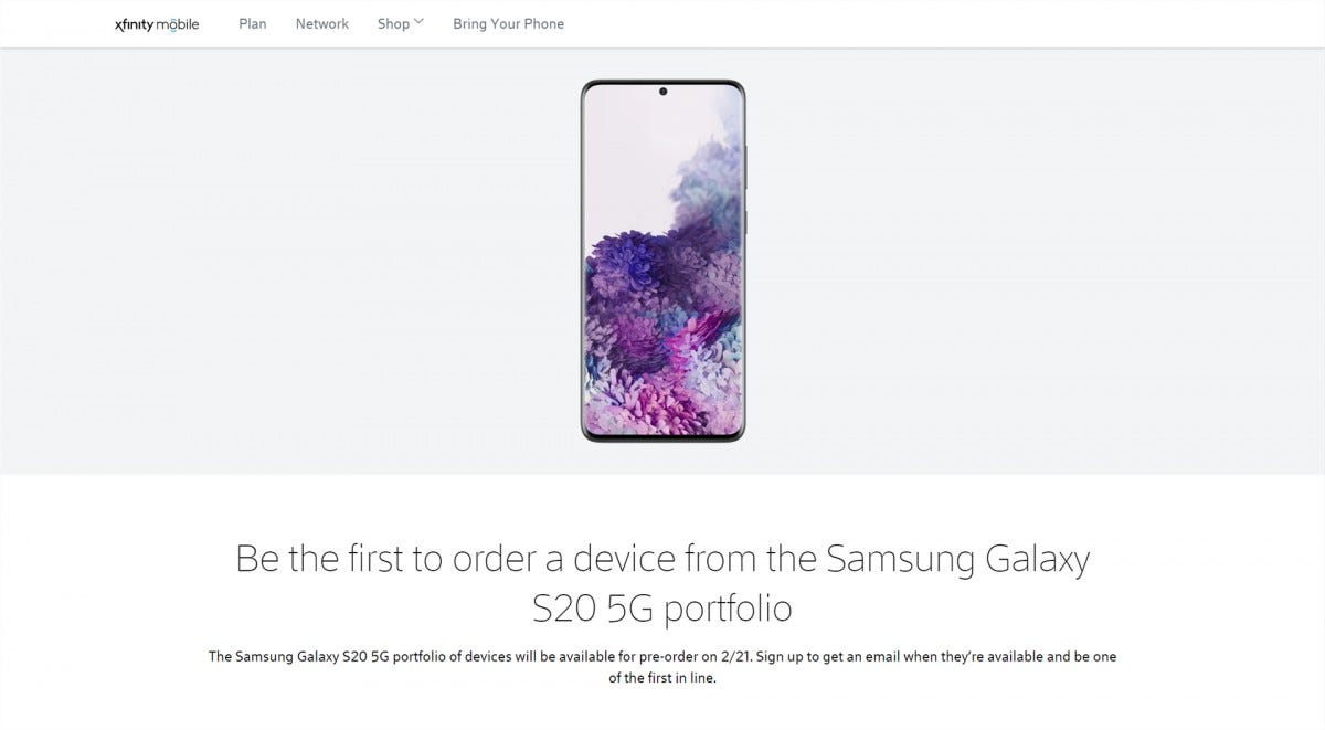 Xfinity Mobile Galaxy S20 Preorder Page