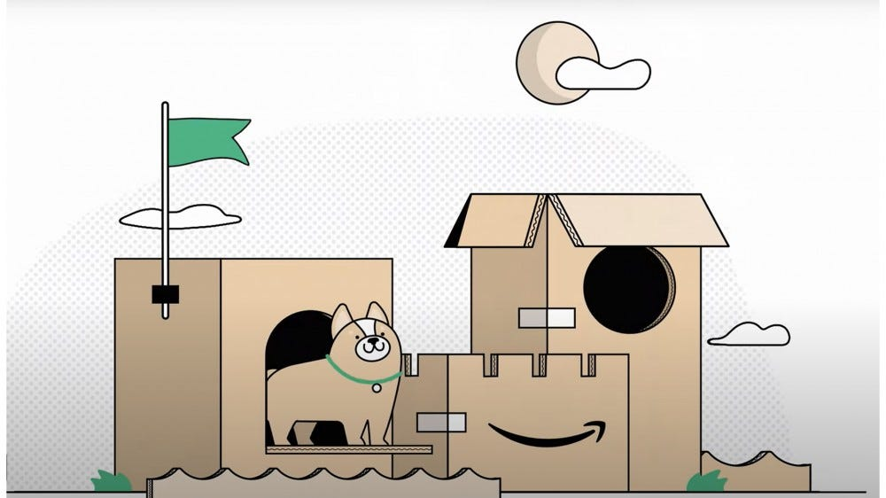 Illustration of Amazon's eco-friendly boxes being turned into a cat fort