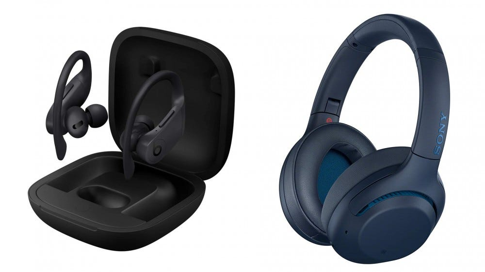 A photo of the Powerbeats Pro and Sony WHX900N headphones.