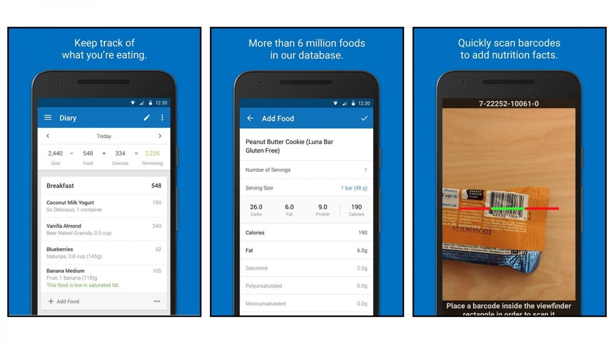 MyFitnessPal app screenshots