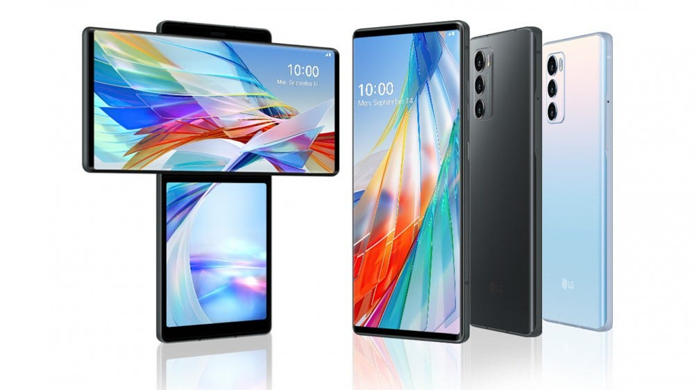 The LG Wing smartphone front, swivel screen, and rear view of the device