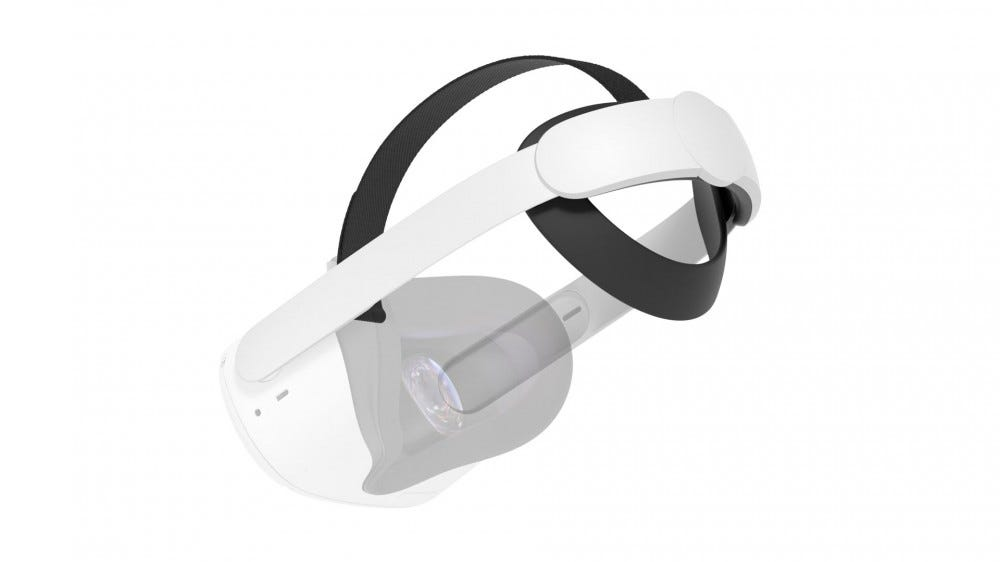 A transparent Oculus Quest 2 connected to an Elite Strap