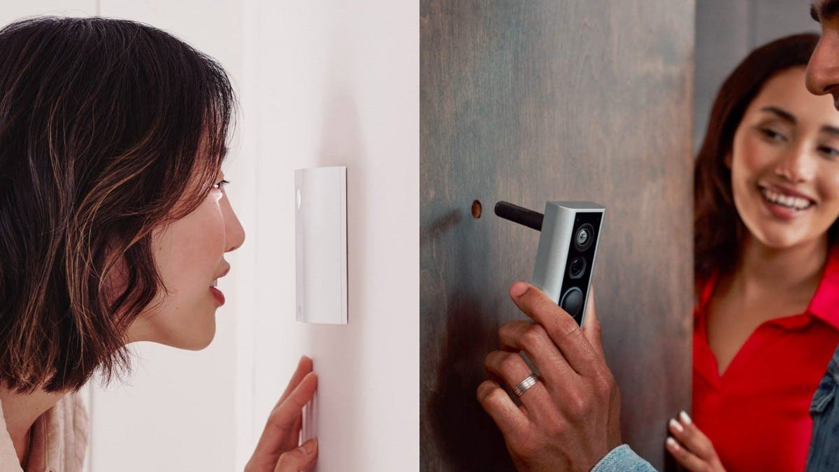 The Ring Door Cam from both angles. It's easy to install, and it can be used as a peephole.