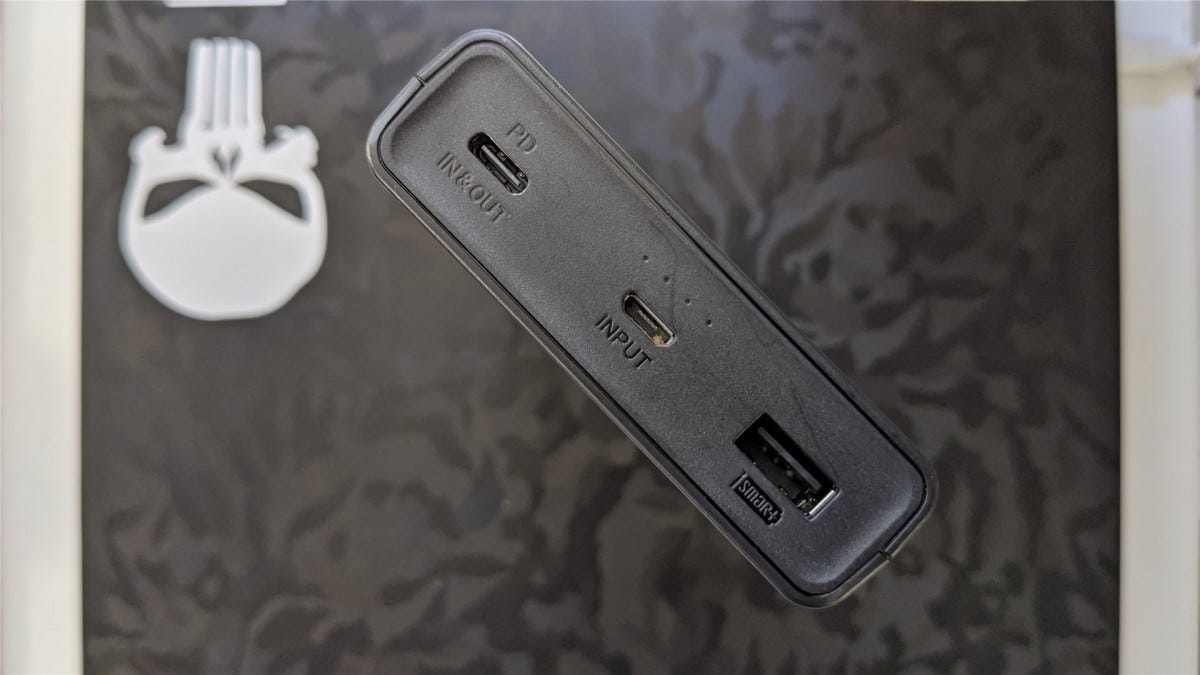 Showing the USB-C, microUSB, and USB-A ports