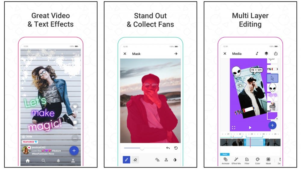 Funimate mobile app screenshots showing video effects, collecting fans, and editing options