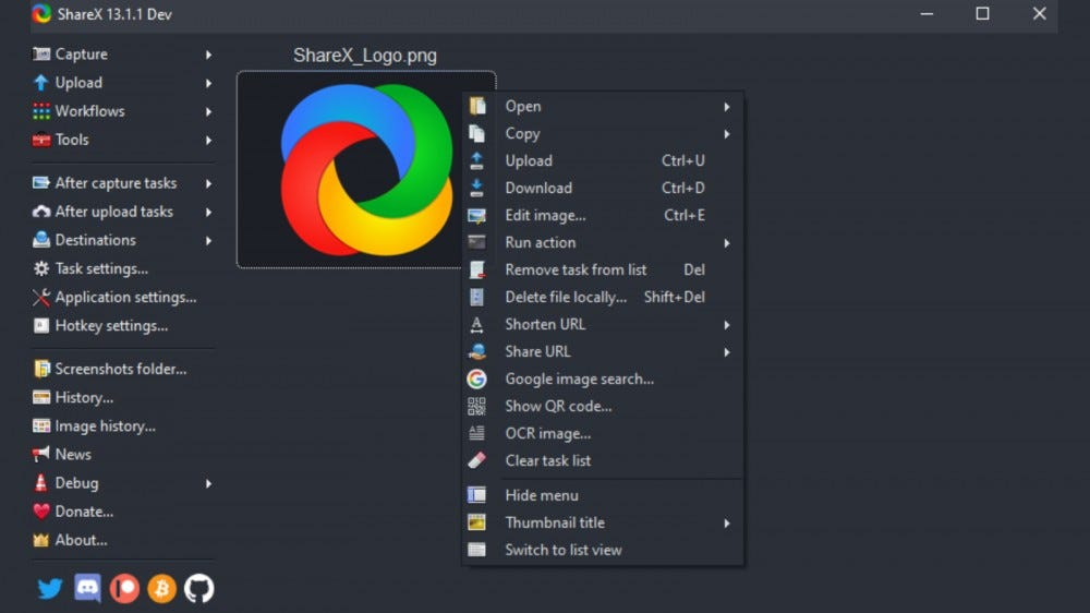 Screenshot of ShareX's settings menu