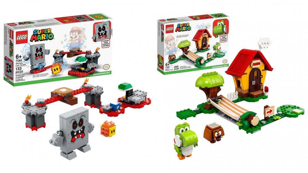 A photo of the LEGO 'Super Mario' Whomp and Yoshi Expansion Sets.