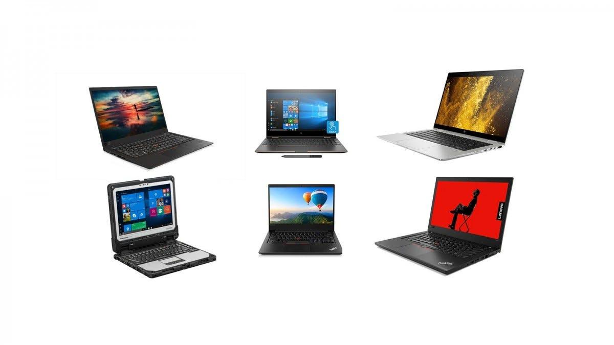 A Lenovo ThinkPad X1 Carbon, HP EliteBook x360, HP EliteBook x360, Panosonic Toughbook CF-33, and two Lenovo Thinkpad Edge E480 laptops.