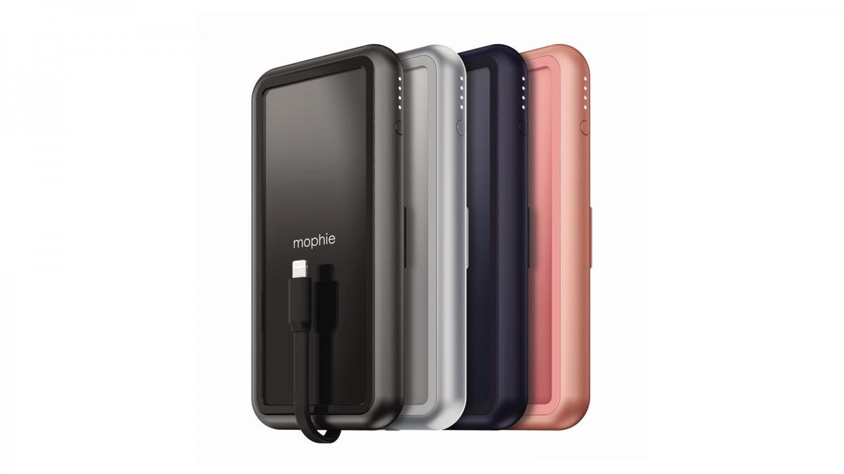 The powerstation plus batteries with integrated lighting cable in glossy black, grey, purple, and pink.