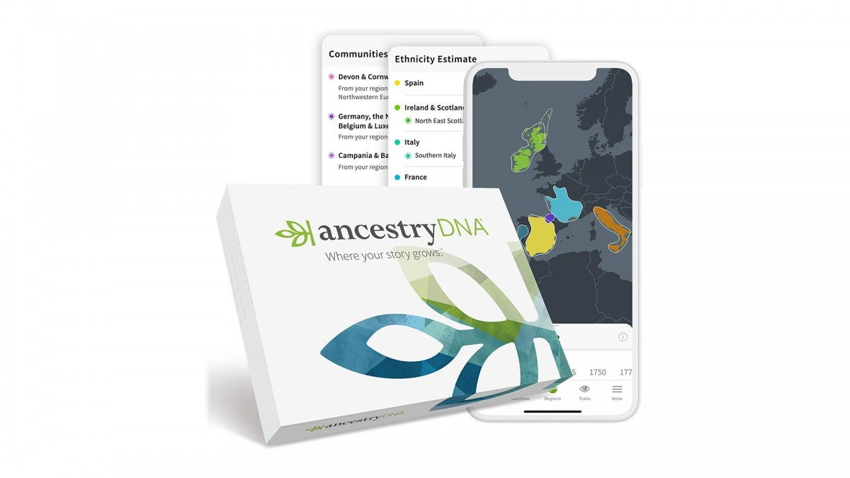 The AncestryDNA testing kit.