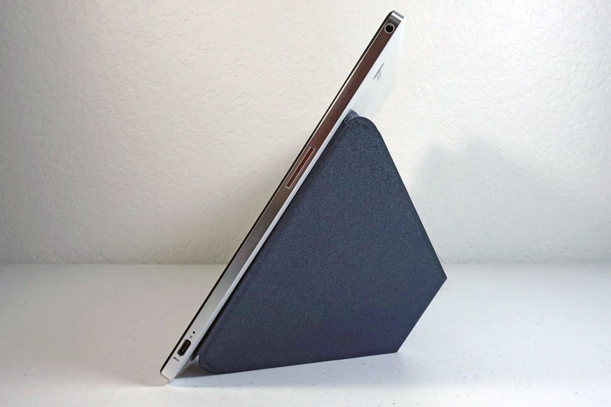 The kickstand folds out and props up even the largest tablets for ideal viewing.